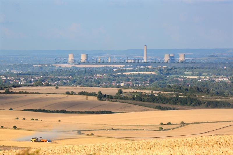 english countryside overlooking didcot powerstation