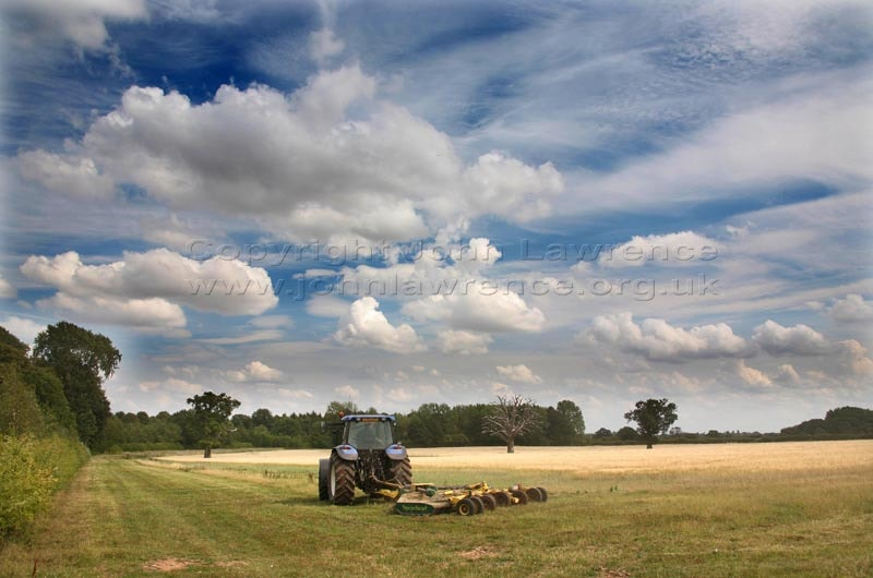 tractor working in a field under a blue sky with clouds