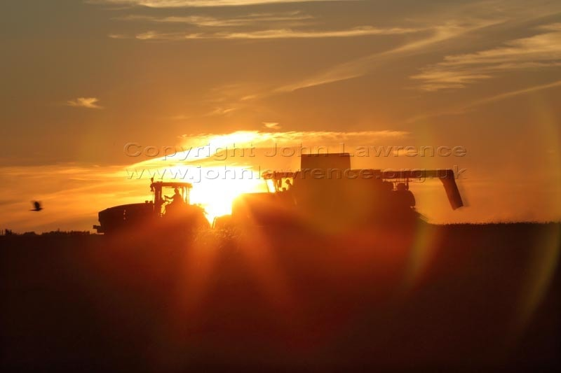 tractor and combine harvester in a field at sunset